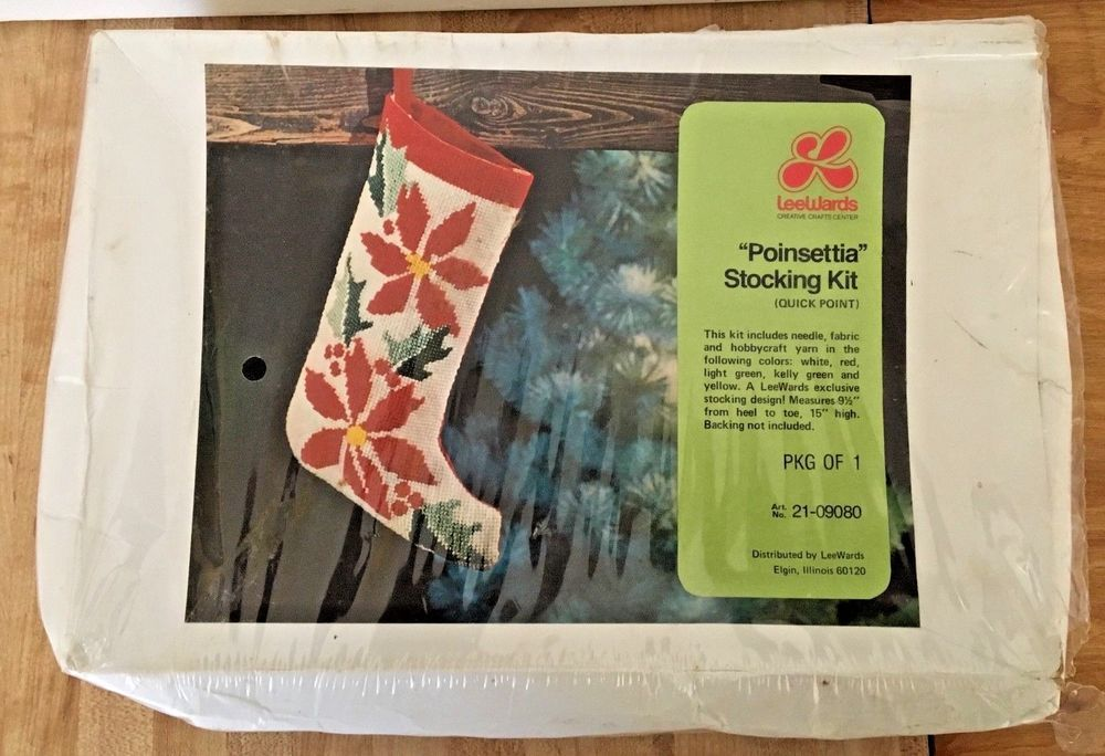 Vintage LeeWards Christmas Poinsettia Stocking Quick Point