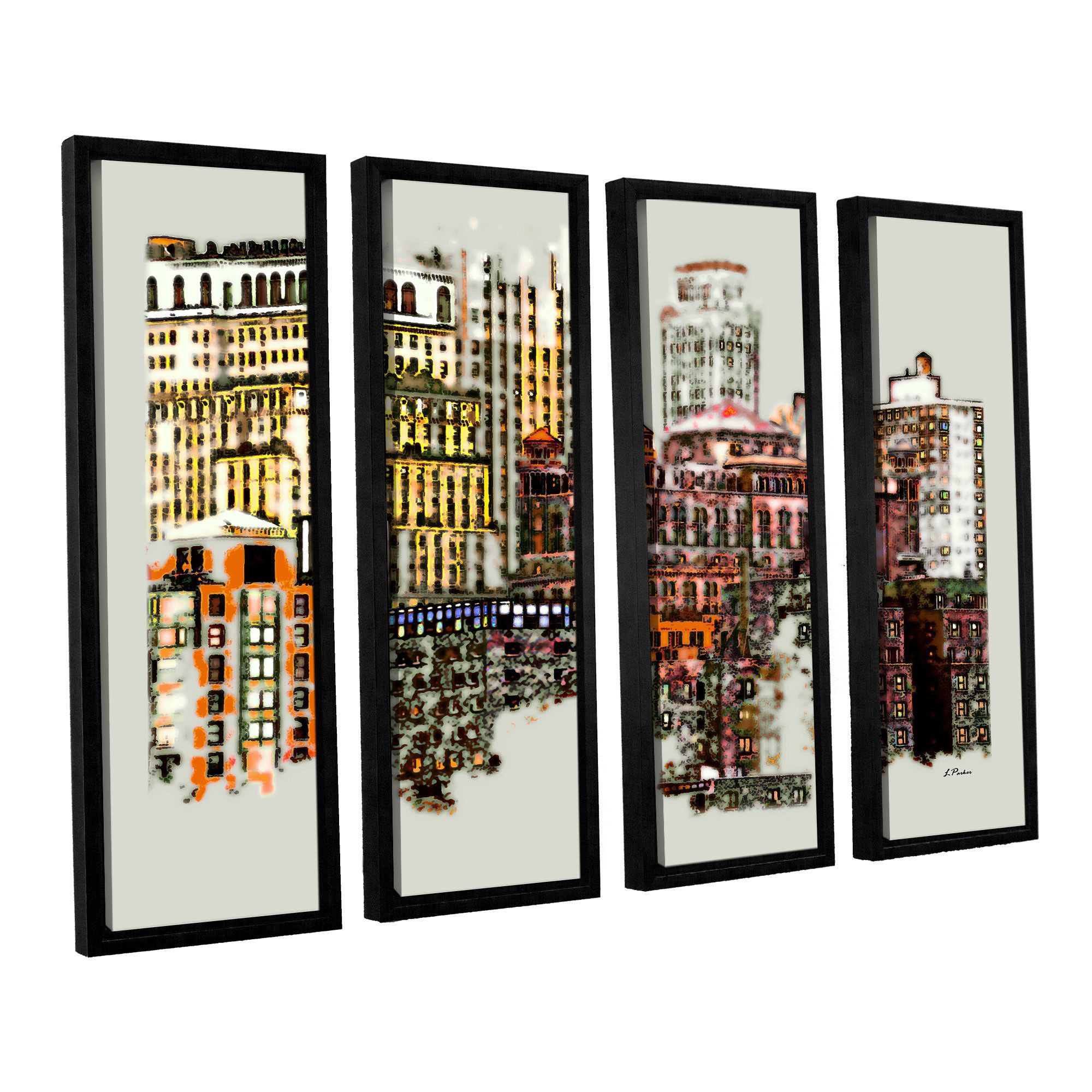 Nyc Manhattan Cluster by Linda Parker 4 Piece Floater Framed Photographic Print on Canvas Set