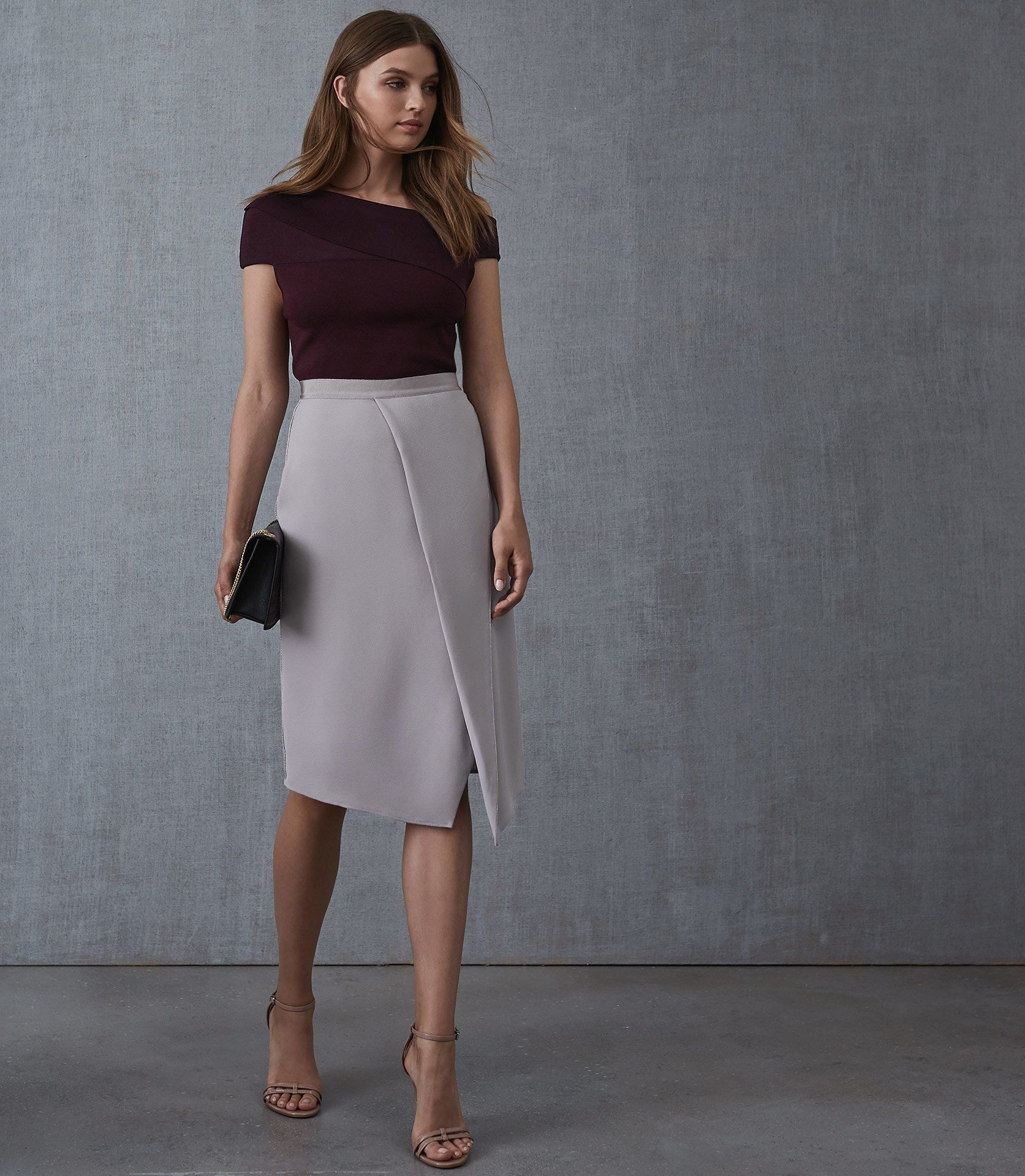Indigo Berry Knitted Bardot Top   REISS is part of Work skirt outfit - The indigo knitted bardot top in berry plays its part in our iconic tops collection and is available to buy online at REISS