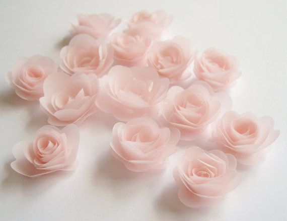 12 Pink Blush Rolled Paper Flowers Wedding Decoration Scrapbook