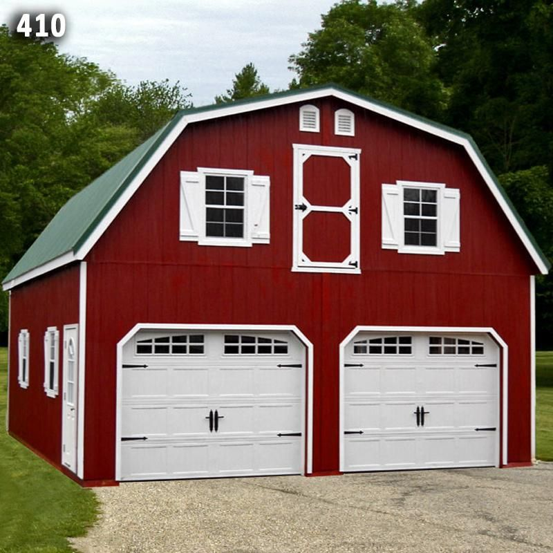 24x28 2 car 2 story modular garage metal gambrel roof for Modular carriage house garage