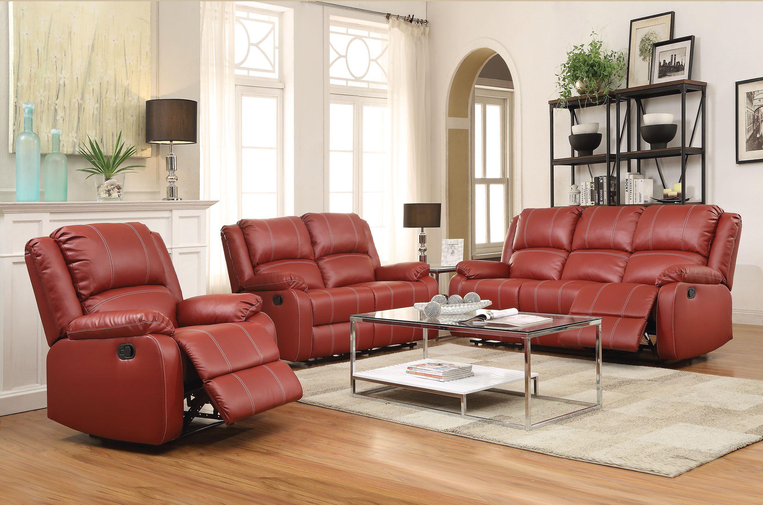 Best Acme Zuriel Red Pu Leather Reclining Sofa Set In 2019 400 x 300