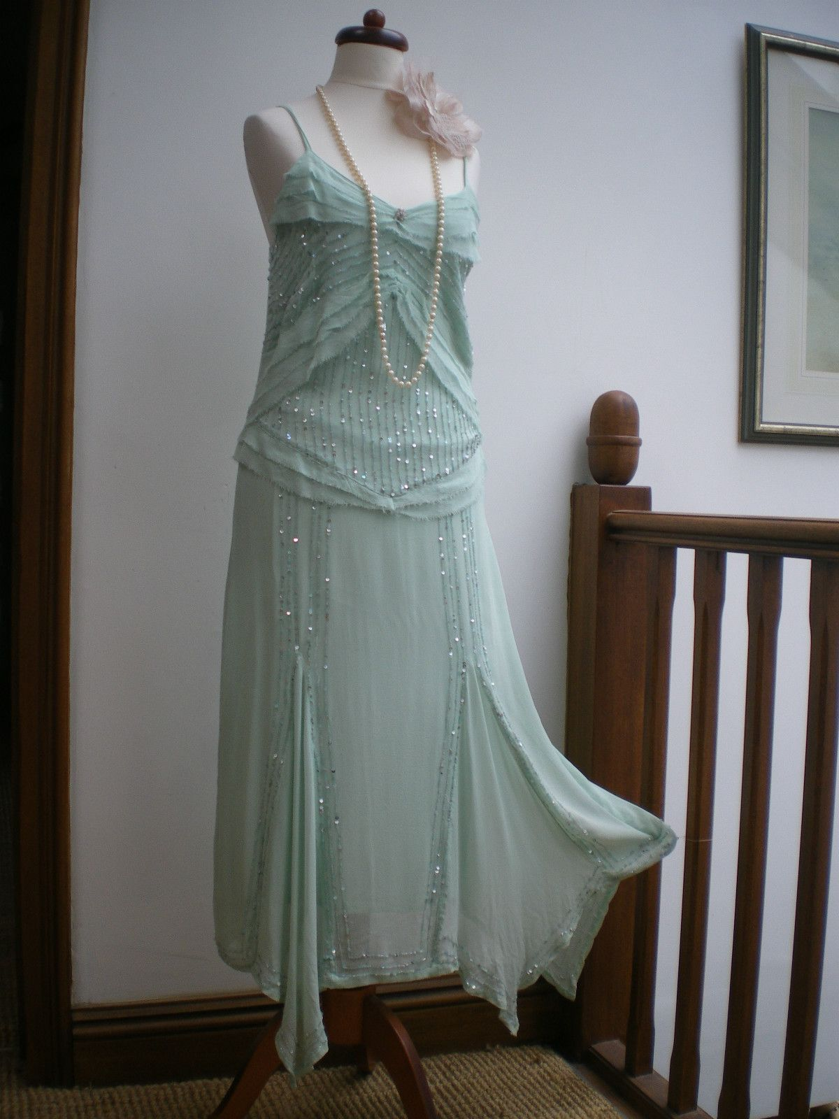 NEXT silk Art Deco green sequin flapper 1920\'s style charleston ...