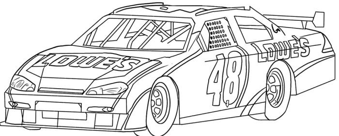 nascar race car sport coloring page - Nascar Coloring Pages