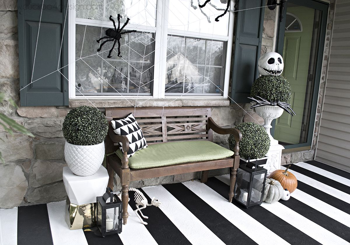 Black and white Halloween Front Porch Halloween porch, Halloween - black and white halloween decorations