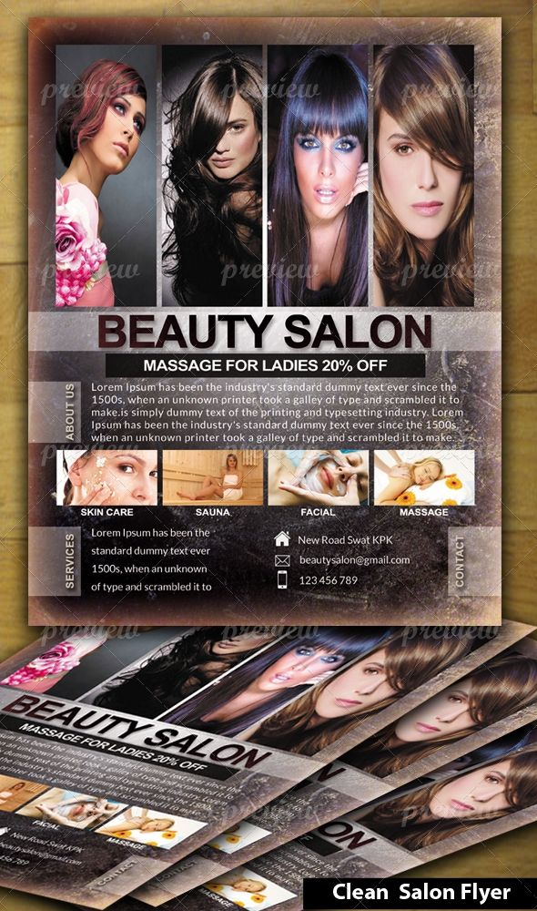 Beauty Salon Flyer | Psd Printable Graphic Designs | Pinterest