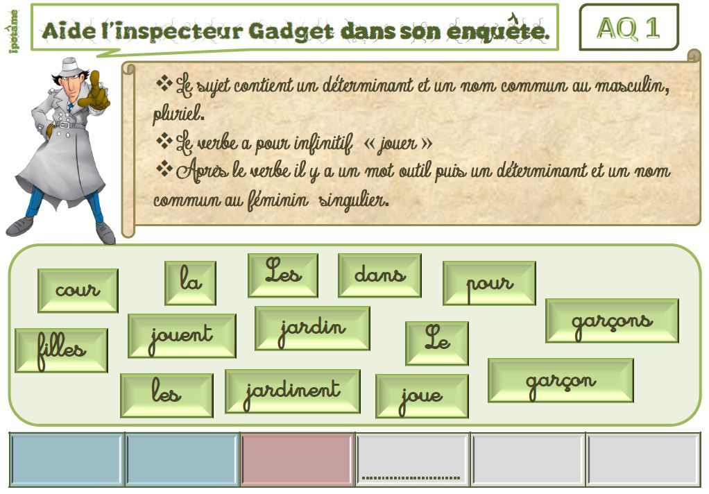 Ipot me t me ce1 2 grammaire ludique les enqu tes de l 39 inspecteur jeu faire des phrases - Grammaire ce1 a imprimer ...
