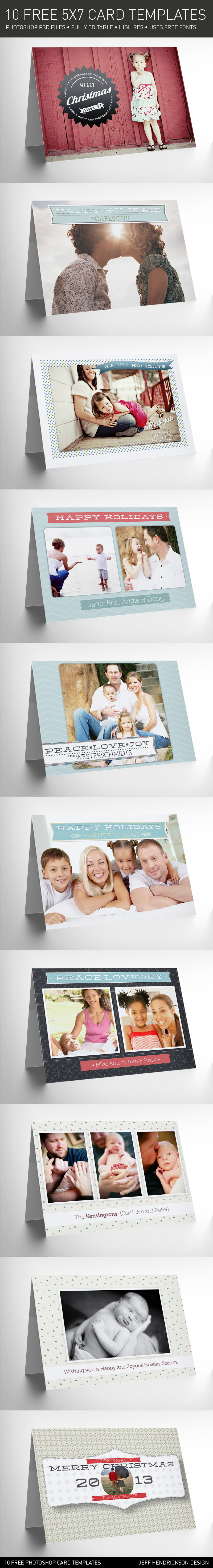 10 Free Hi Res Greeting Card Templates For Photographers Photography Freebies Holiday Card Pictures Photoshop Photography
