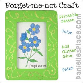 Forget-me-not flower frame craft from www.daniellesplace ...