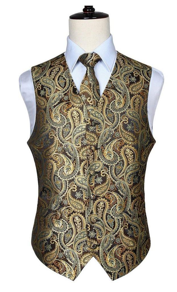 49b0f78c7c03 Gold and Brown Paisley Vest Set in 2019 | fall | Vest, Wedding vest ...