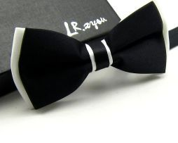 Luxusný spoločenský motýlik v čierno bielej farbe