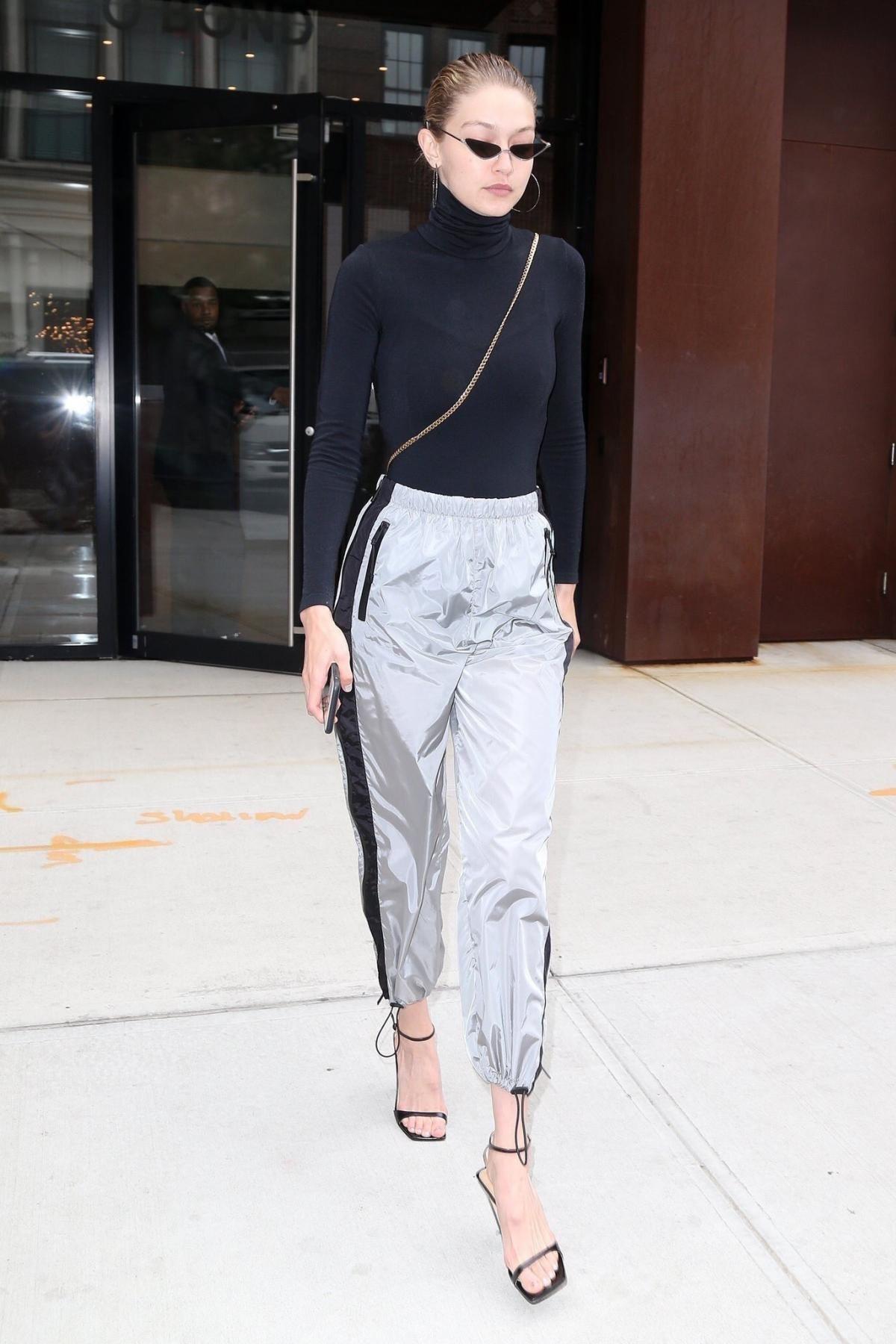 b0834237a88 Gigi Hadid wearing Prada Silver Track Pants