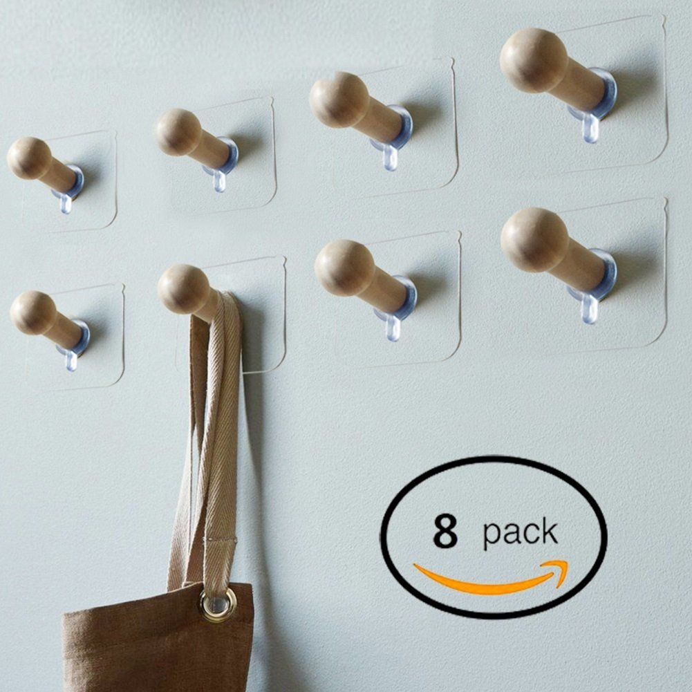Sendida 3M Adhesive Wall Hooks - 8 Pack No Drills Wooden Hat Hooks ...
