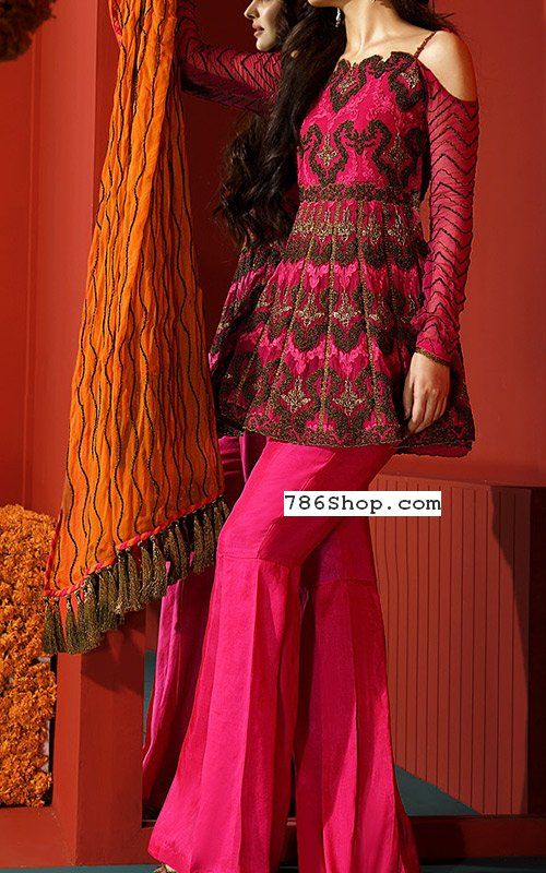 964bed7bf8b Hot Pink Chiffon Suit