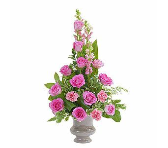 Peaceful Pink Small Urn Sympathy Flowers Flower Cart Funeral Flowers