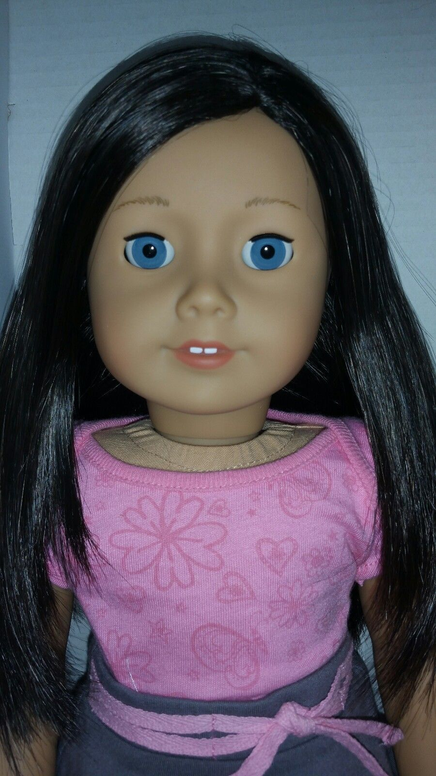 Mwb My American Girl Doll 60 Long Layered Dark Brown Hair Blue