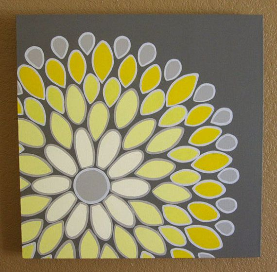 Wall Art, Yellow and Grey Abstract Flower, 20x20 Acrylic Painting on ...