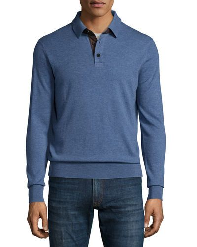 NEIMAN MARCUS CASHMERE LONG-SLEEVE POLO SWEATER, DENIM. #neimanmarcus #cloth #