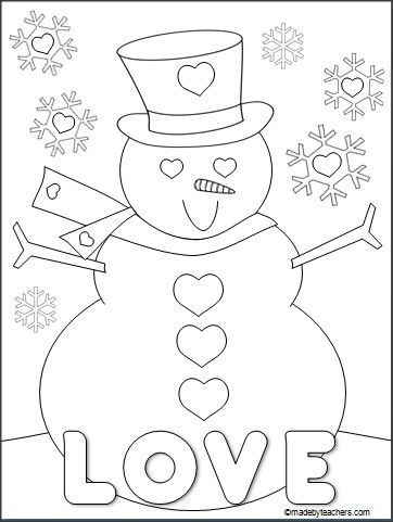 This Is A Free Valentine S Day Snowman Coloring Page For Download