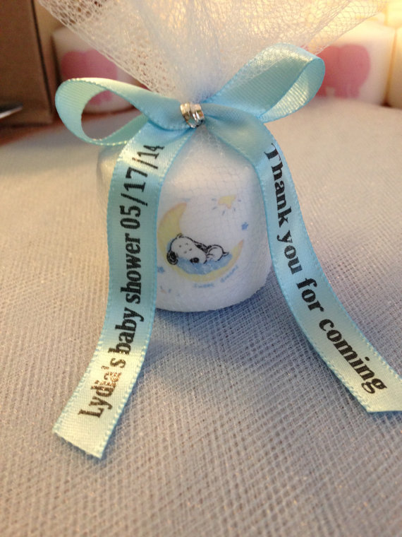 25 Snoopy Like Themed Baby Shower,Shower Favors,Nautical Themed Party  Favors, Votive CandleWith Personalized Ribbon