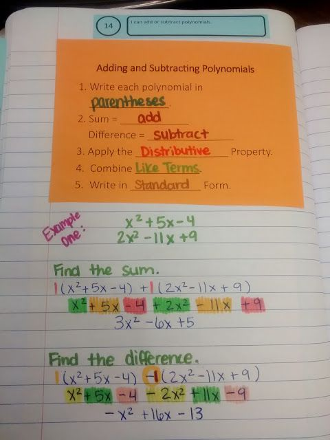 Math = Love: Adding and Subtracting Polynomials Notes | My ...