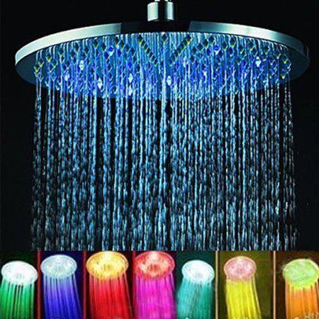 Amazon Com 8 Inch 7 Color Led Lights Romantic Rain Waterfall Led Shower Head Shower Heads Rgb Led Lights