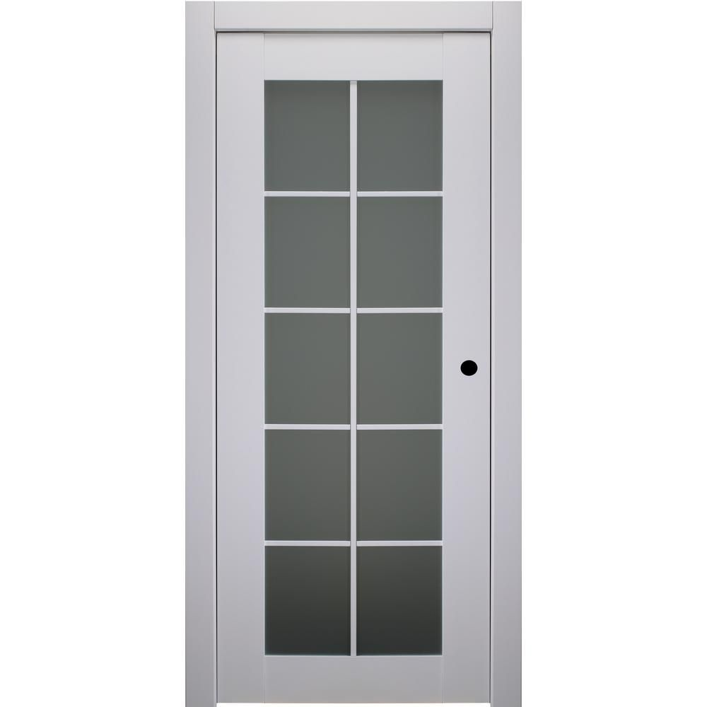 Belldinni 32 In X 80 In Smart Pro Polar White Left Hand Solid Core Wood 10 Lite Frosted Glass Single Prehung Interior Door 111008 Prehung Interior Doors Frosted Glass Interior Doors Frosted Glass
