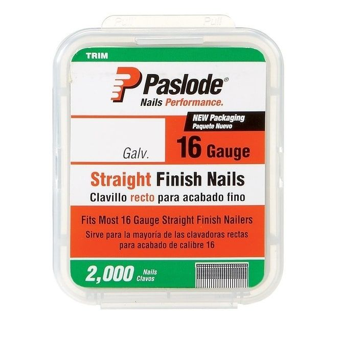 Paslode 1 1 4 In L 16 Ga Galvanized Straight Finish Nails 2 000 Pk Silver Nails And Screws It Is Finished Finishing Nails