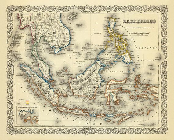 Vintage Map Of East Indies Southest Asia Map East Indies Map