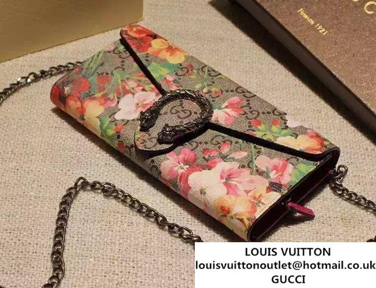 5790b0e89da Gucci Dionysus GG Red Blooms Supreme Chain Shoulder Wallet 404141 2016