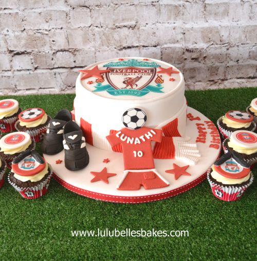 Liverpool Soccer Cake And Cupcakes Boy Birthday Cake Cake Football Birthday Cake
