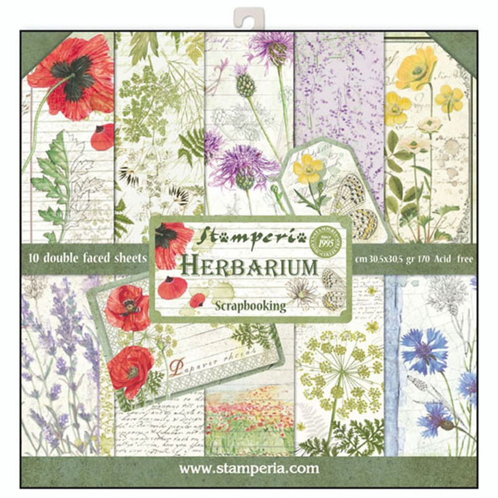 12x12 Paper Pad Herbarium 10 Double Sided Sheets By Stamperia For Scrapbooks Cards Crafting Found At Fotobella Vintage Junk Journal Scrapbook Herbarium