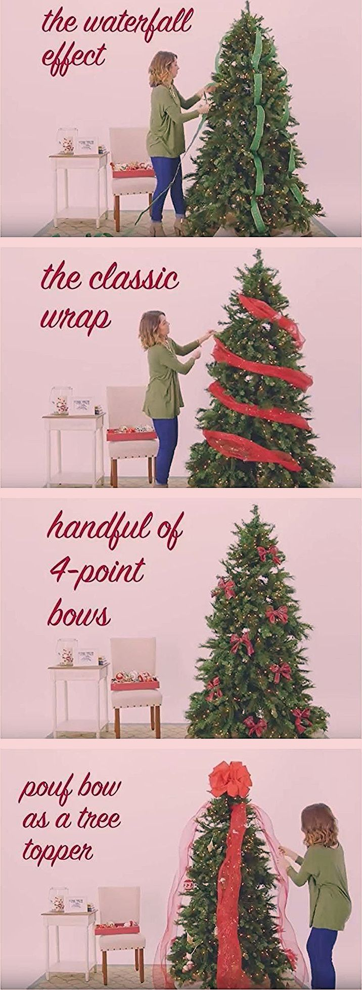 If you're looking for a creative way to decorate your tree this holiday, watch our how-to video with 5 Ways to Use Ribbon on Your Christmas Tree! It shows how you can achieve the waterfall effect, the classic wrap, 4 point bows, a pouf bow as a tree topper and ribbon bunches. #ribbononchristmastreeideas