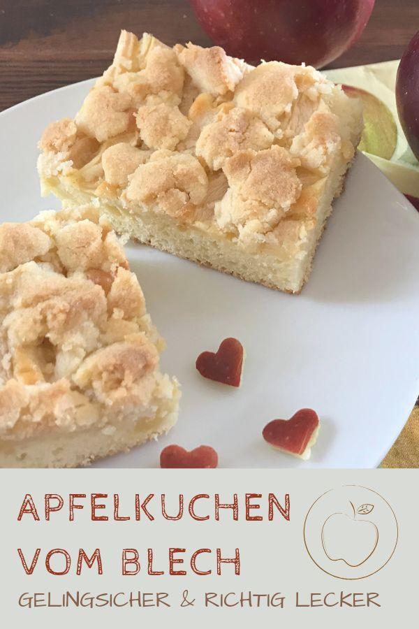 Apfelkuchen vom Blech mit Streuseln (einfaches Rezept)