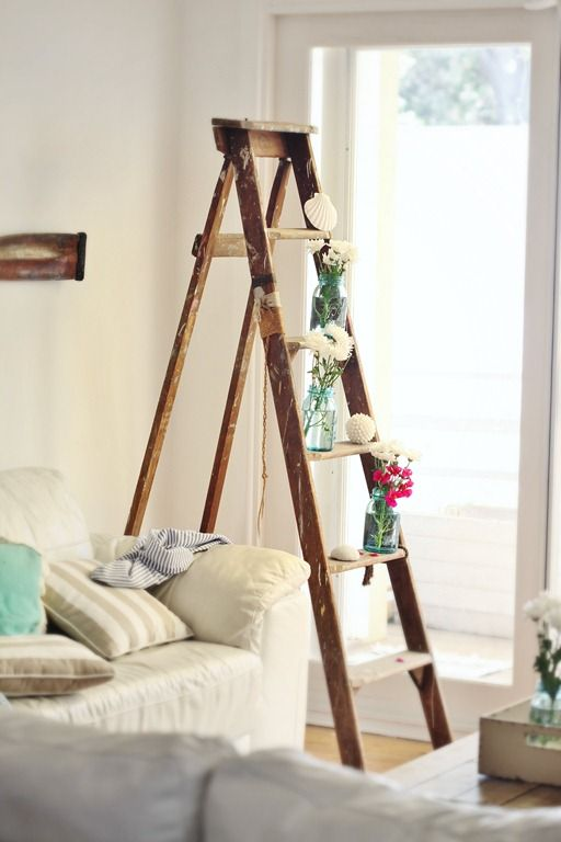 Beach Cottage DIY Decor How to Decorate Vintage Ladders   Living ...