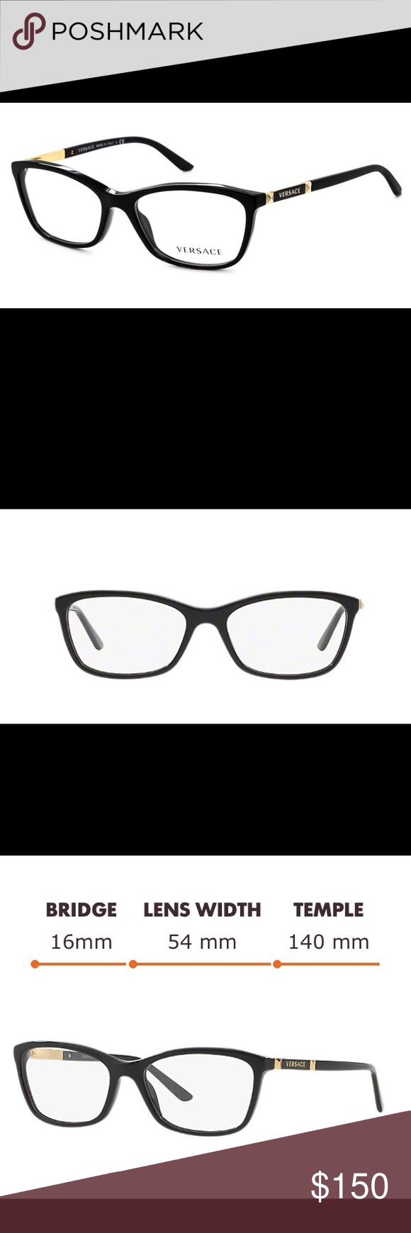 4b6636b0abf2 Versace Eyeglasses VE 3186 Black Versace Eyeglasses VE 3186 Black GB1 52mm.  Originally  225. Excellent condition! Just need to change the lenses!