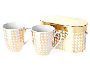 Kaffeebecher Houndstooth, 2 Stück, weiß/vergoldet, 0,3 l
