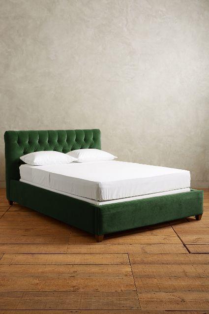 Dark Green Velvet Headboard Velvet Bed Frame Yellow Bedding