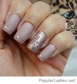 beige matte nails design with glitter