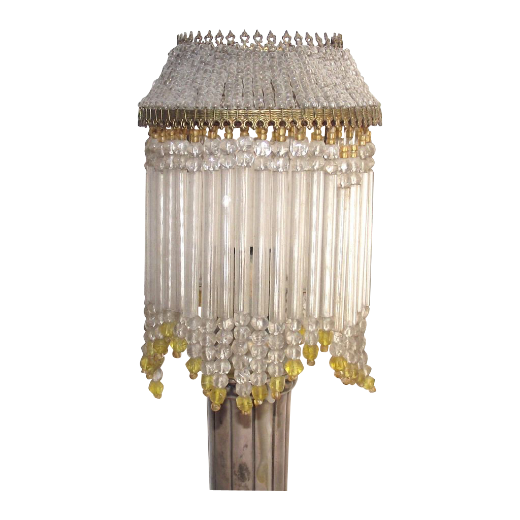 Glass beaded lamp shade yellow and clear for oil lamp chimney found glass beaded lamp shade yellow and clear for oil lamp chimney found on rubylane aloadofball Choice Image