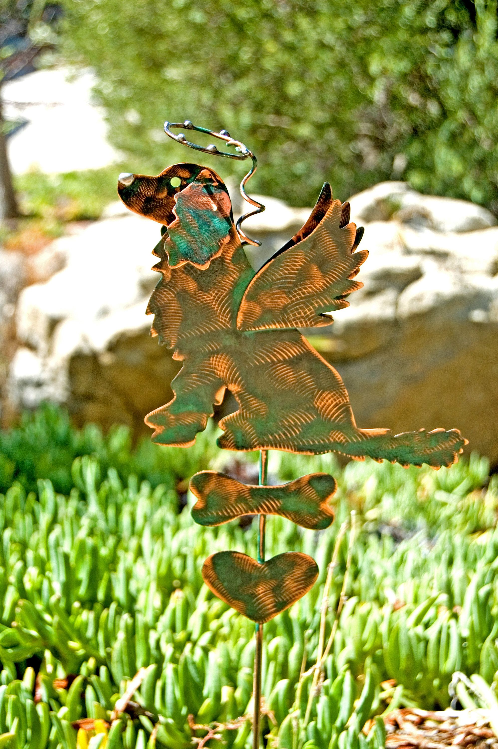 Golden Retriever Angel Metal Garden Art Pet Memorial Garden Stake,Yard Art,  Garden Copper