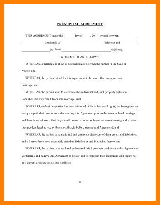 Free Printable Prenuptial Agreement Form Free Printable Prenuptial