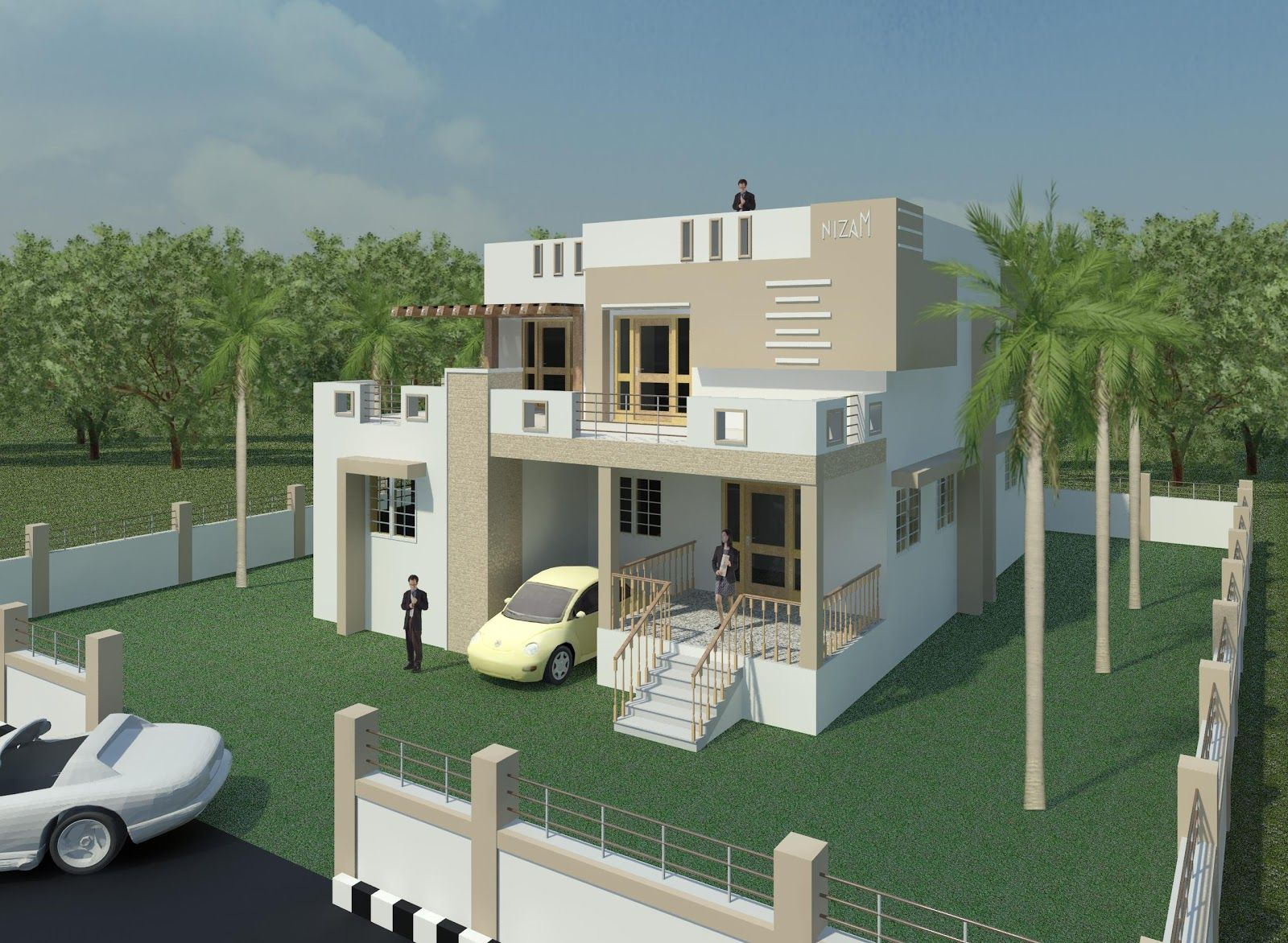 Creative exterior design exterior 3d views house for Home designs in tamilnadu
