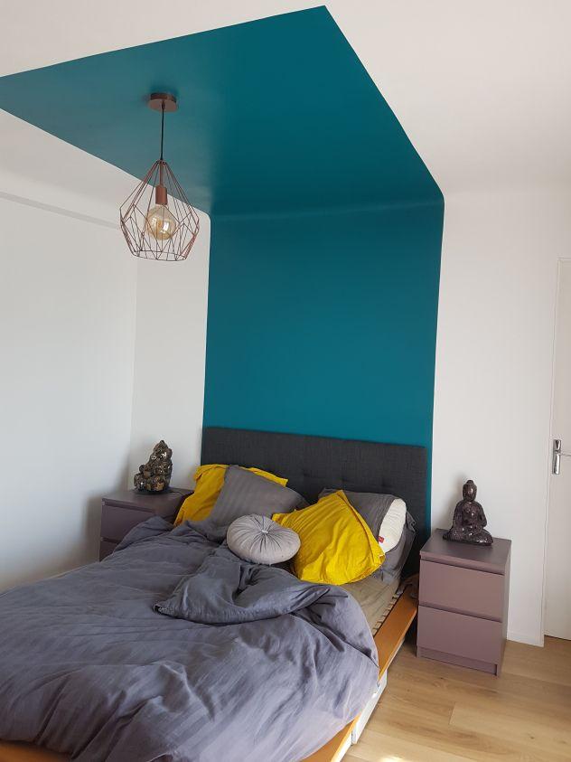 Tête de lit graphique | Deco | Deco chambre bleu, Tete de lit ...