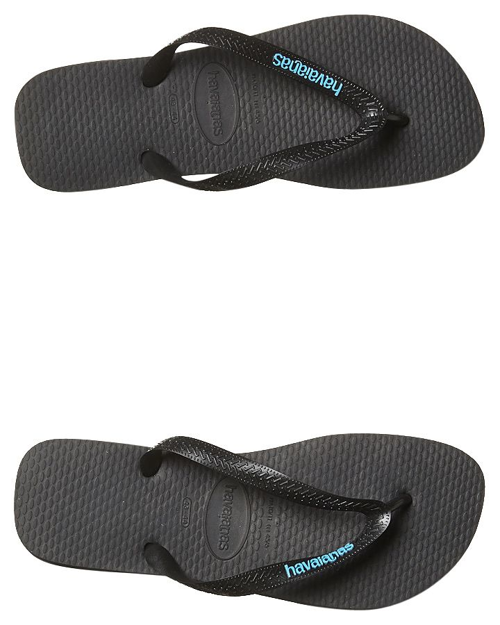 ed2c23799 Havaianas Mens Full Rubber Logo Thongs Flip Flops Black Blue Sandals ...