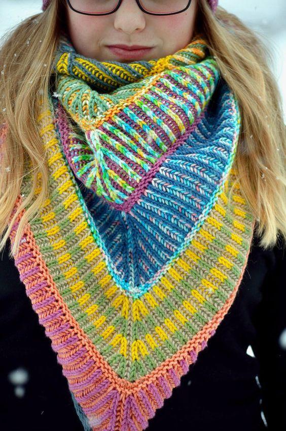 Knitting pattern for Brioche Shawl
