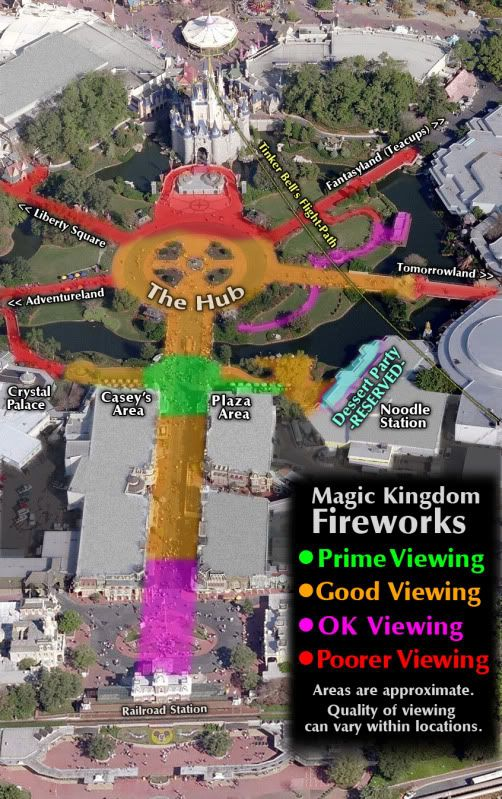 WDW Firework Viewing Areas ~ Cupcake Castles Travel Co.