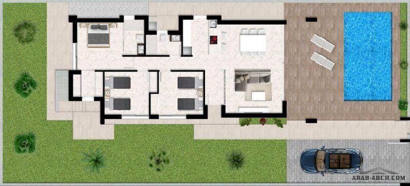 مخطط شاليه مودرن من طابق واحد بمسبح خاص Architecture Floor Plans Home
