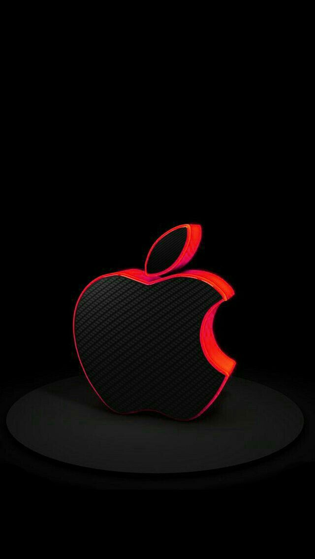 Black with Red Trim Apple on Black Wallpaper | sheik in 2019