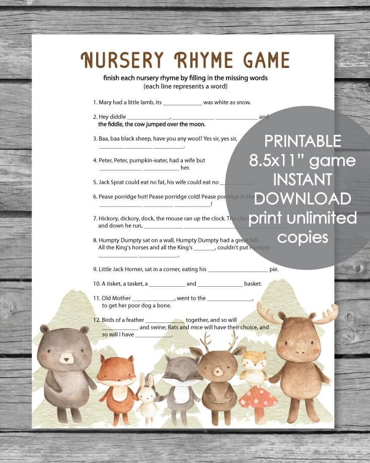 Printable Baby Shower Nursery Rhyme Game - Woodland Animals Watercolor Theme   #Animals #Baby #Game #Nursery #Printable #Rhyme #Shower #Theme #Watercolor #Woodland